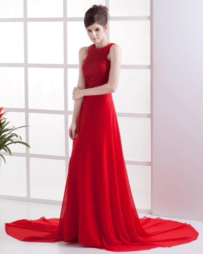 Chiffon Red 2013 Prom Dress