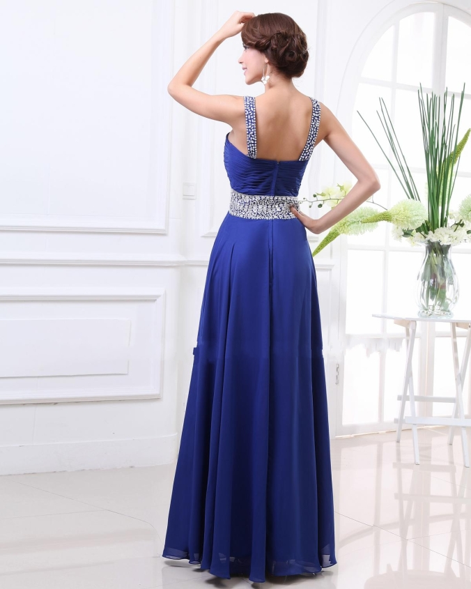 2013 Style Criss Straps Beaded Royal Blue Prom Dress