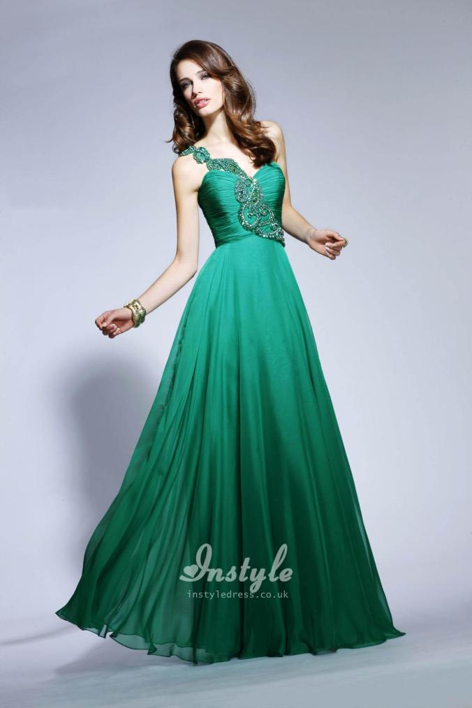sweetheart green beaded chiffon prom dress